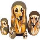 Saluki on Five Russian Nesting Dolls. Dogs.