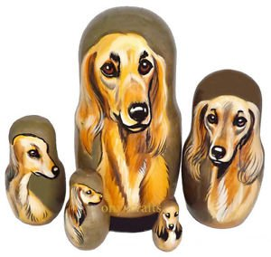Saluki on Five Russian Nesting Dolls. Dogs.