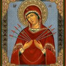 Virgin Mary with Seven Swords.  Christian Icon from Russia.  Huge.