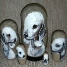 Bedlington Terrier on Five Russian Nesting Dolls. Dogs