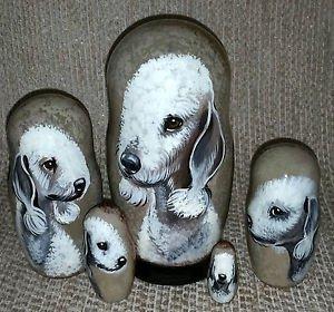 Bedlington Terrier on Five Russian Nesting Dolls. Dogs