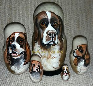Drentsche Patrijshond on Five Russian Nesting Dolls. Dogs.
