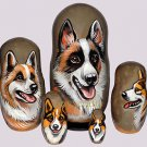 Icelandic Sheepdog on Five Russian Nesting Dolls. Dogs