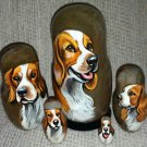 Welsh Springer Spaniel on Five Russian Nesting Dolls. Dogs.