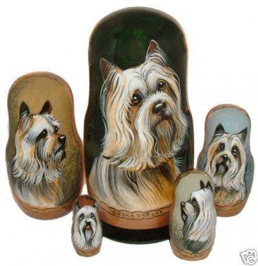 Silky Terrier on Five Russian Nesting Dolls.  Dogs.