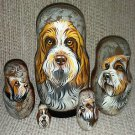 Spinone Italiano on Five Russian Nesting Dolls. Dogs