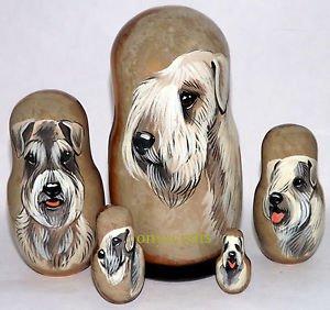Sealyham Terrier on Five Russian Nesting Dolls. Dogs