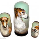 Borzoi/Russian Wolfhound on Three Russian Nesting Dolls. Dogs.