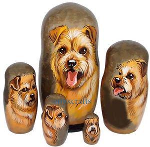 Norfolk Terrier on Five Russian Nesting Dolls. Dogs