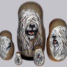 Komondor on Five Russian Nesting Dolls. Dogs.