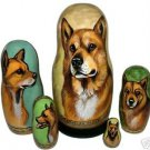Canaan Dog on Five Russian Nesting Dolls. Dogs.
