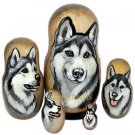 Alaskan Malamute on Five Russian Nesting Dolls. Dogs.