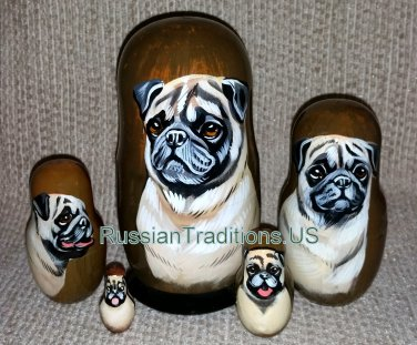 Pugs on Five Russian Nesting Dolls. Fawn. Dogs.