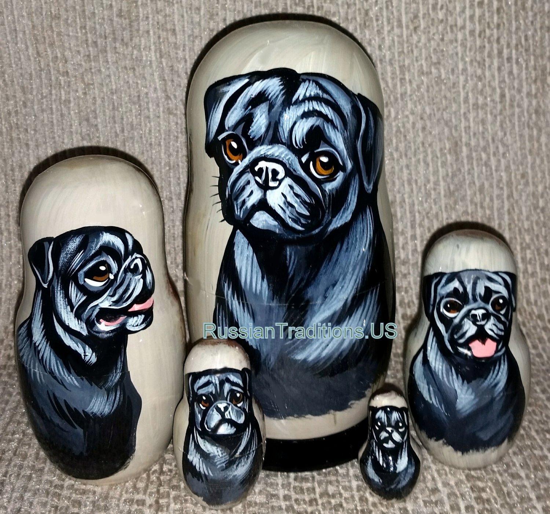 Black Pugs on Five Russian Nesting Dolls .Dogs.
