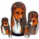 Basenji on Russian Nesting Dolls