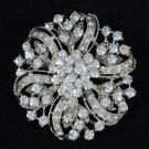 Clear Swarovski Crystal Round Flower Brooch Pin Bridal Floral