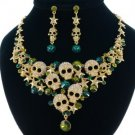 Unique Green Skull Star Necklace Earring Set W/ Swarovski Crystals 4 Halloween
