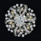 Bridal Floral Round Flower Brooch Pin W/ Clear A/B Rhinetsone Crystals