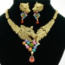 High Quality Animal Wolf Fox Necklace Earring Set W/ Swarovski Crystals 4 Colors
