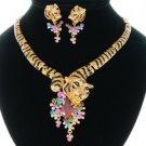 Good Quality Swarovski Crystals Animal Multicolor Tiger Necklace Earring Set