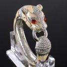 Bisque Enamel Panther Leopard Bracelet Bangle Cuff W/ Clear Swarovski Crystals