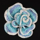 "Rhinestone Crystals New Blue Flower Rose Brooch Pin 3.9"""