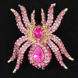 Pink Tarantula Spider Brooch Pin W Rhinestone Crystals For Halloween