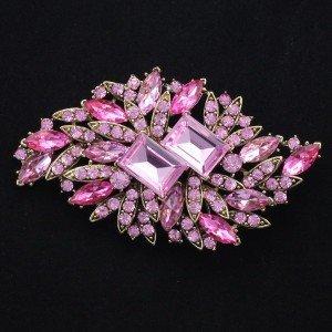 """Rhinestone Crystals Pink Fashion Flower Brooch Pin 3.7"""""""