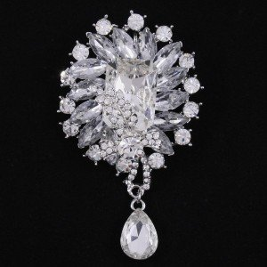 Wedding Rhinestone Crystals Fashion Clear Flower Brooch Pin 3.5""
