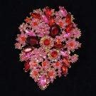 "Hot Beautiful Red Flower Brooch Pin 3.9"" w/ Swarovski Crystals"