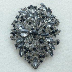 "New Beautiful Black Flower Brooch Pin 3.9"" W/ Gray Rhinestone Crystals"