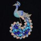 "Rhinestone Crystals Gorgeous Blue Peafowl Peacock Brooch Pin 4.5"""