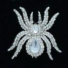 Vogue Tarantula Spider Brooch Pin W/ Clear Rhinestone Crystals