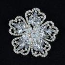 """New Clear Rhinestone Crystals Wedding Bridal Cute Flower Brooch Pin 2.0"""""""