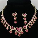 Swarovski Crystals Pink Love Heart Necklace Earring Set