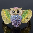 Hot High Quality Swarovski Crystals Animal Multicolor Owl Bracelet Bangle Cuff
