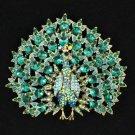 "Green Peafowl Peacock Brooch Pendant Pin 3.3"" W/ Rhinestone Crystals"
