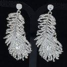 Gorgeous Peacock Feather Earring Clear Swarovski Crystal