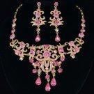 High Quality Flower Necklace Earring Set w/ Light Rose Swarovski Crystals