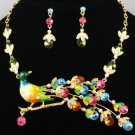 Swarovski Crystals H-Quality Multicolor Enamel Peacock Necklace Earring Set