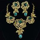 Green Flower Rose Necklace Earring Set w/ Swarovski Crystals