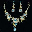 Swarovski Crystals High Quality Drop Blue Flower Necklace Earring Set
