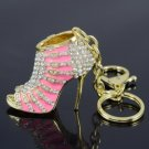 Hot Pretty Pink High-Heel Shoe Key Ring KeyChain W/ Rhinestone Crystals