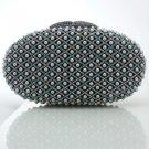 Pretty Gray Pearls Clutch Evening Bag Purse Handbag W/ Swarovski Crystals