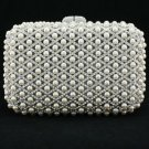 White Imitation Pearls Clutch Evening Bag Purse Handbag W/ Swarovski Crystals