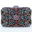Luxurious Rose Flower Clutch Evening Handbag Purse Bag W/ Mix Swarovski Crystals