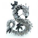 Animal Dragon Brooch Pin w/ Black Rhinestone Crystals