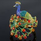 H-Quality Elegant Peacock Bracelet Bangle Cuff w/ Multicolor Swarovski Crystals