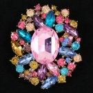 "New VTG Style Flower Pendant Brooch Pin 2.5"" W/ Mix Rhinestone Crystals"