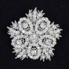 """Rhinestone Crystals Pretty Clear Flower Brooch Pin 2.5"""" For Wedding"""
